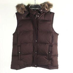 Gap Brown Fuzzy Hooded Vest T1316383